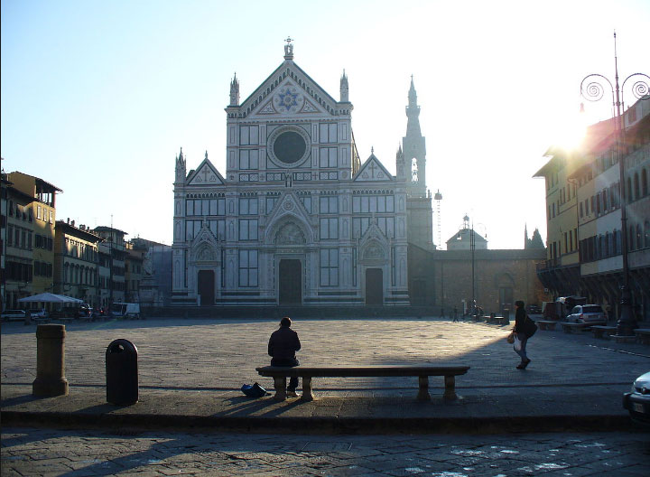 restauro negozio in pietra serena di attività commerciale in piazza santa croce firenze